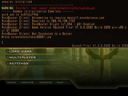 A screenshot of the drop-down console in Quake 4 overlaying the title screen.