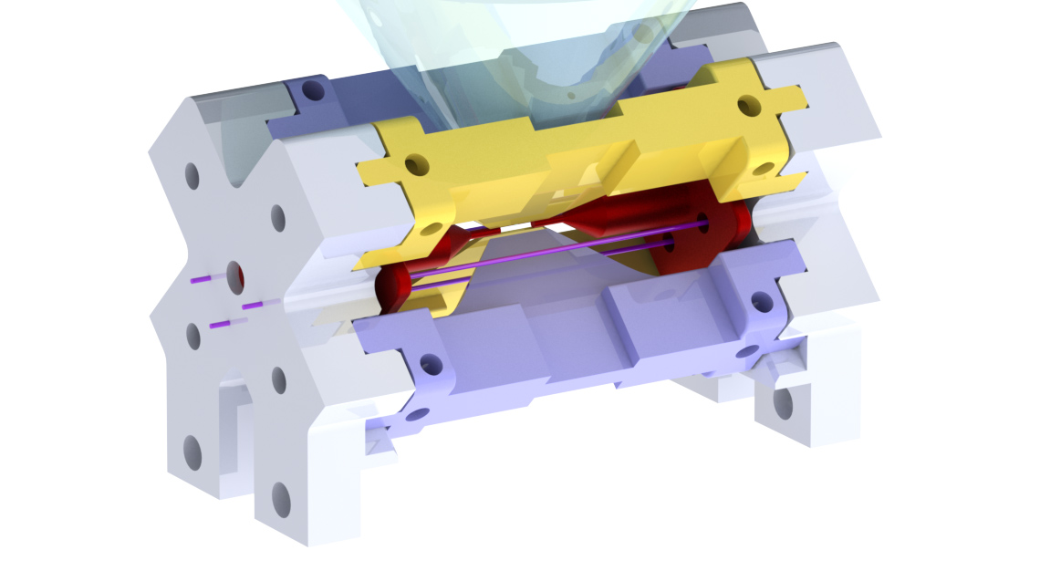 3D model of the ion trap used in the picture, with different parts highlighted.